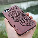 iPhone 6s Case,CoCo Laser Carving Marked Wood Case wooden Case Cover with ...