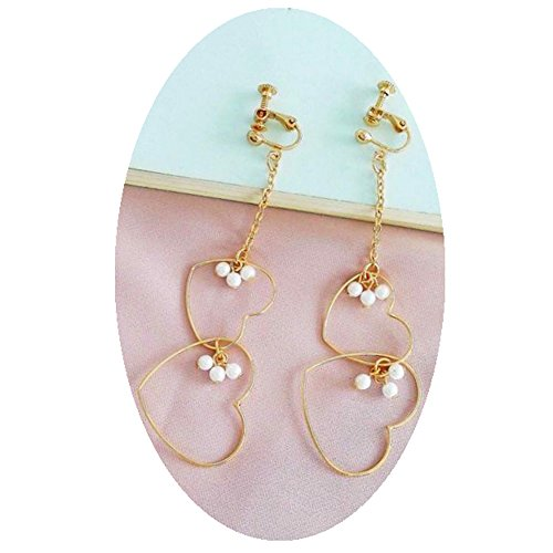 Fashion Jewelry Earrings Girls Gold Plated Bohemia Simulated Pearls Double Heart Ear Clip On Earrings ()