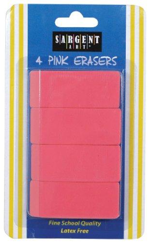 Sargent Art 36-1013 4 Count Eraser Blister Pack, Pink