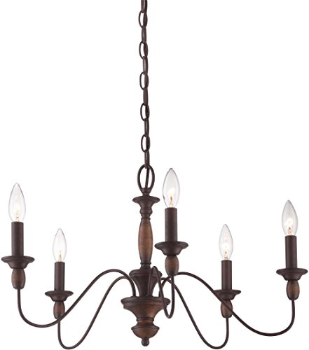 Quoizel HK5005TC Holbrook Chandelier, 5-Light, 300 Watts, Tuscan Brown (14