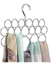 iDesign Axis Metal Loop Scarf Hanger, No Snag Closet Organization Storage Holder for Scarves, Men's Ties, Women's Shawls, Pashminas, Belts, Accessories, Clothes, 18 Loops, Chrome