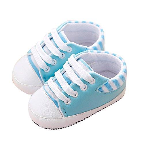 kingko® Kinder Streifen rutschen weiche Sohlen Schritt Babyschuhe Geeignet für 0 bis 18 Monate Hellblau