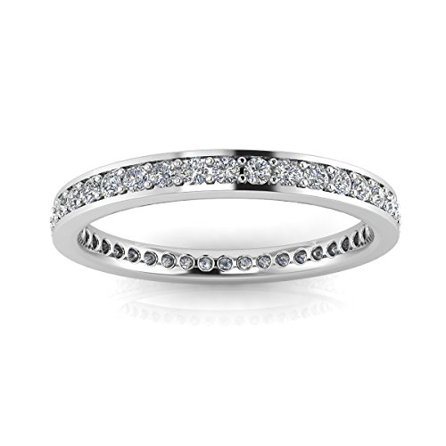 Jewelry Pop Up Shop Round Brilliant Cut Diamond Channel Pave Set Eternity Ring In 18k White Gold (0.3ct. Tw.) Ring Size 5, 3.2MM (0.3 Ct Tw Diamonds)