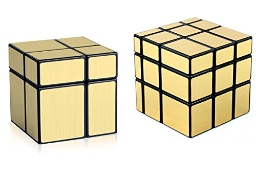 Block Mirror (D-FantiX Shengshou Mirror Cube Set, 2x2 3x3 Mirror Blocks Bundle Puzzle Golden)