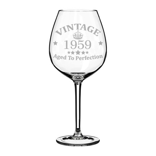 (Wine Glass Goblet 60th Birthday Vintage Aged To Perfection 1959 (20 oz)