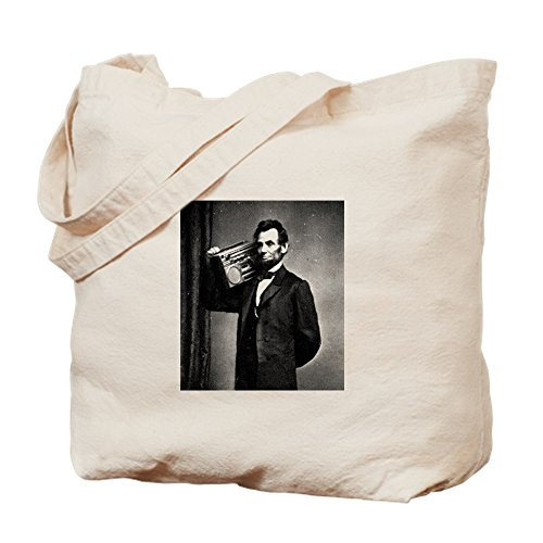 CafePress - Boombox Abe - Natural Canvas Tote Bag, Cloth Shopping Bag by CafePress