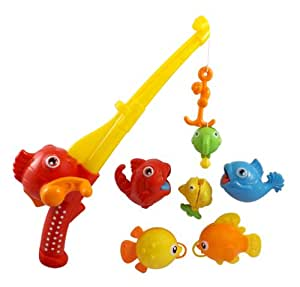 Rod and reel fishing bath toy set for kids for Amazon fishing rods and reels