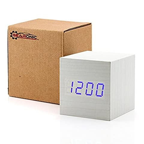 GEARONIC TM Wooden Alarm Clock, LED Square Cube Digital Alarm Thermometer Timer Calendar Updated 2016 Brighter LED - (Rhythm Digital Clock)