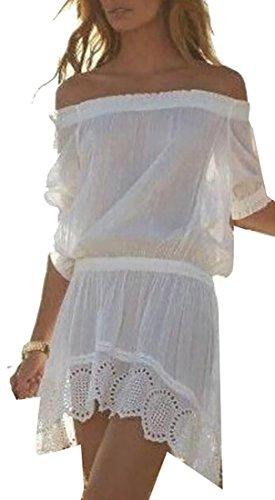 Jaycargogo Des Femmes De L'été Au Large Bordure En Dentelle Épaule Taille Lâche Mini-robe Blanche