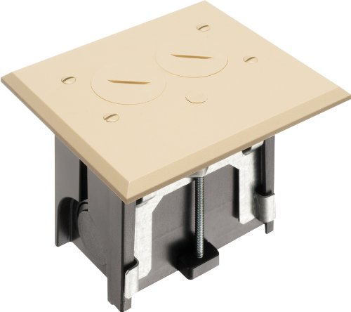 Arlington FLBA101LA-1 Adjustable Floor Box Kit with Outlet and Plate, for Installed Floors, 1-Gang, Light Almond, 1-Pack