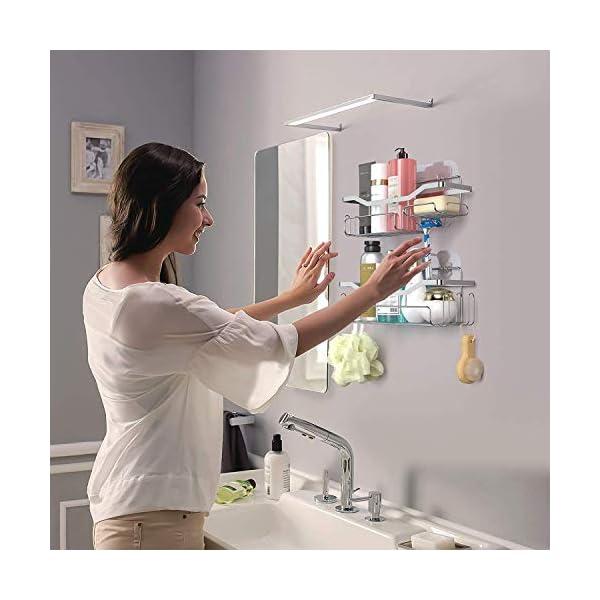 HapiRm Duschregal,Duschkorb Ohne Dohren Duschablage Edelstahl Rostfrei,Badezimmer Regal mit 11 Haken Seifenschale…