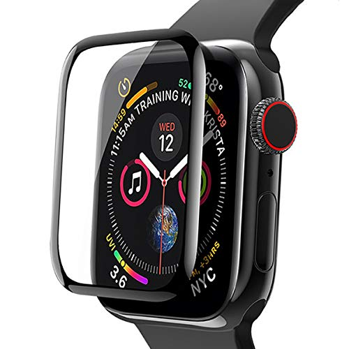 (RIDPIX【3 Pack Screen Protector for Apple Watch 40mm, 9H Hardness Ultra Clear Tempered Glass Screen Case Full Covarange Protective Film for Apple iWatch Series 4 - Black)