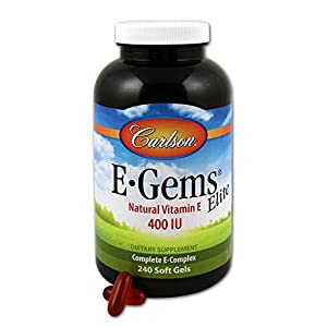 Carlson E Gems Elite 400 IU (268 mg), Vitamin E Family, Heart Health, 240 Soft Gels