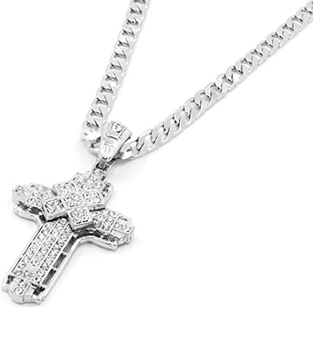 Silver Tone Clear Cz Iced Out X Cross Pendant Hip-hop 24