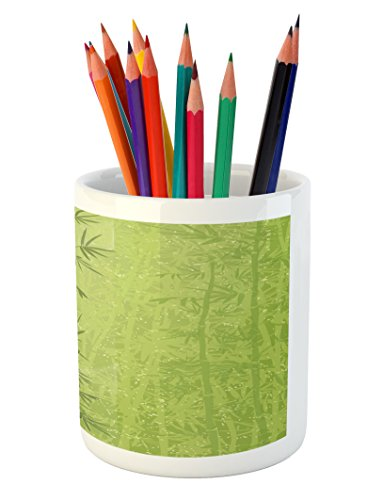 Ambesonne Exotic Pencil Pen Holder, Tropical Forest Rainforest Jungle Paradise Ecology Feng Shui Spa, Printed Ceramic Pencil Pen Holder for Desk Office Accessory, Pistachio Green Fern Green by Ambesonne (Image #2)