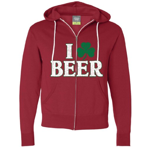 St Patricks Day I Love Beer Irish Clover Zip-up Hoodie - Red Large