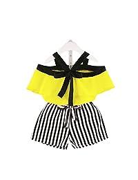 XuBa 2Pcs/Set Summer Strap Chiffon Shirt+Striped Shorts Set for Kids Girls yellow 80cm