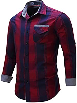 Neleus Men's Cotton Long Sleeve Button Down Casual Shirts