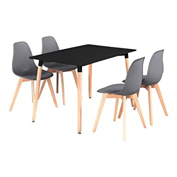 P&N Homewares - Ensemble Rico Table à Manger Noire + 4 Chaises Gris ...