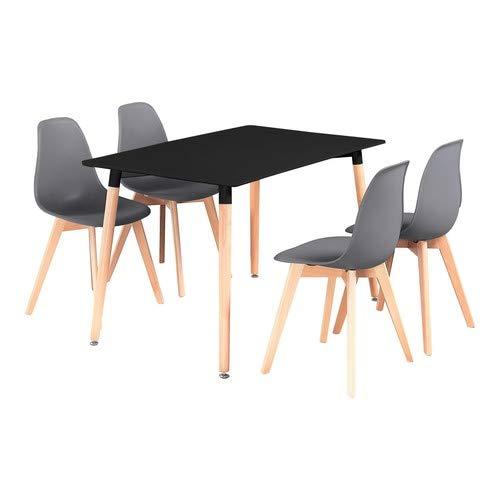 P&N Homewares - Conjunto Rico Mesa de Comedor Negra + 4 sillas ...
