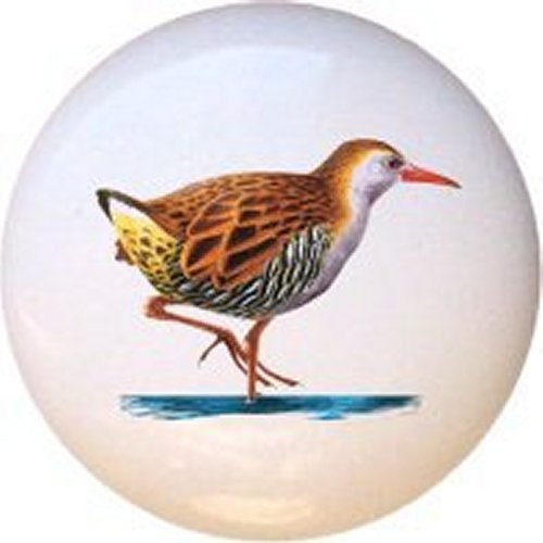 Water Rail Bird Decorative Glossy Ceramic Drawer Pull Knob