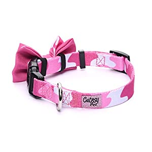 Cutesy Pet Dog Collar with Adjustable Bow | Comfortable and Strong | Pink Camo | 5 Different Styles in 4 Different Sizes