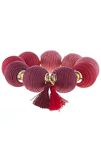 TRENDY FASHION JEWELRY OMBRE THREAD WRAPPED BALL BRACELET BY FASHION DESTINATION | Red