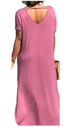 collo Puro Spaccato Dal Viola Discoteca Chic Tasche Colore Coolred Vestito Allentato Morbide V donne qgn6WEY