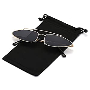 Q EYE Cateye Sunglasses Small Metal Frame for Women and Men Retro Vintage Mod Candy Colors Sun Glasses, Gold Frame and Grey Lens