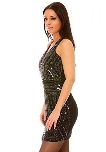dmarkevous - Robe de soirée courte noire à ornements strass et paillettes - M, noir