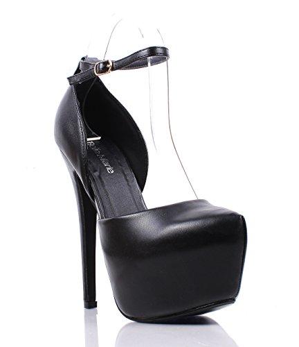 Women's Round Toe Platform Shoes Fashion Party High Heels Black - 8