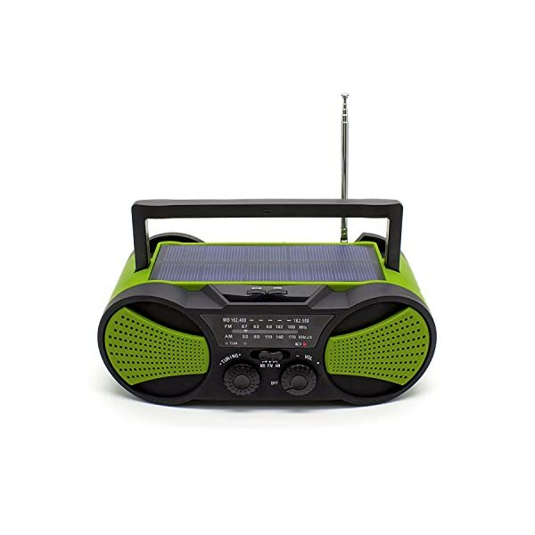 41KyFLqeRDL. SS600  - NOAA Weather Radio, Crank Radio, Audio Speaker, RunningSnail AM/FM Emergency Radio with 4000mAh Battery, 1W Flashlight, 4LED Reading Lamp,1W Solar Panel Charger, SOS Alarm (Green)