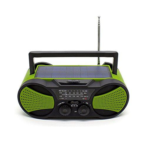 41KyFLqeRDL - NOAA Weather Radio, Crank Radio, Audio Speaker, RunningSnail AM/FM Emergency Radio with 4000mAh Battery, 1W Flashlight, 4LED Reading Lamp,1W Solar Panel Charger, SOS Alarm (Green)