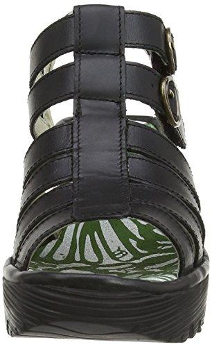 Fly London Ygor, Women's Wedge Heel Sandals Black