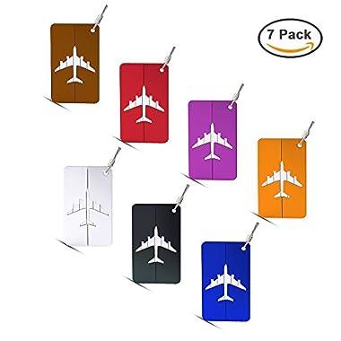 Hibate Metal Luggage Tags Suitcase Bag Labels Baggage Accessories- Set of 7