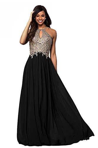 Lily Chiffon 2018 Womens Prom Gold Formal Gowns Long Black Dresses Bridesmaid Evening Applique Wedding P199 Halter rvaAn84rq