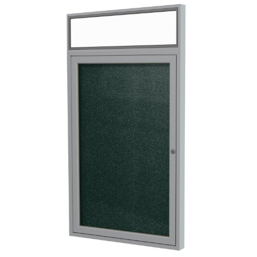 Door Satin Aluminum Headliner - Ghent 3 x 2 Inches Outdoor Satin Frame Enclosed Vinyl Bulletin Board with Headliner, Ebony, Made in the USA
