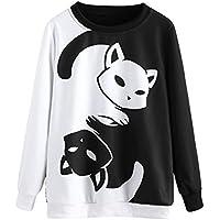 Realdo Women Sweatshirt, Cat Printing Long Sleeve Pullover Tops Blouse