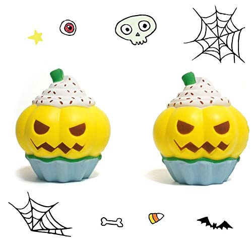 CHoppyWAVE Squeeze Toys Stress Relief, Halloween Pumpkin Cupcake Slow Rising Squeeze Squishy Stress Reliever Toy Gift - Yellow -