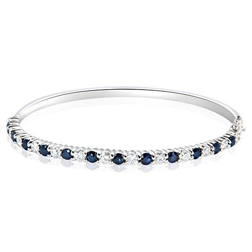 Diamond & Sapphire Bangle Bracelet (BRAND NEW Diamond & Sapphire Bangle Bracelet in 14K White Gold (1 1/3 CTW))