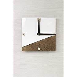 Organic Glass Clock - White Wall Clock - 2 colors available - Brown Wall Clock - Square Wall Clock - Wooden Wall Clock - Modern Wall Clock - Office Decor