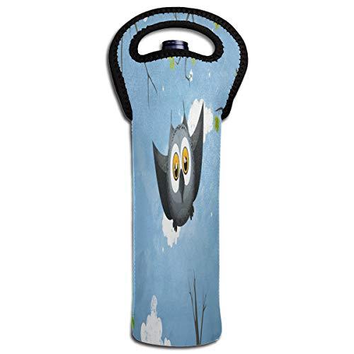 Wine Bag May Owl Flight 1 Bottle Red Wine Tote Bag Cooler Single Water Holder Bag -