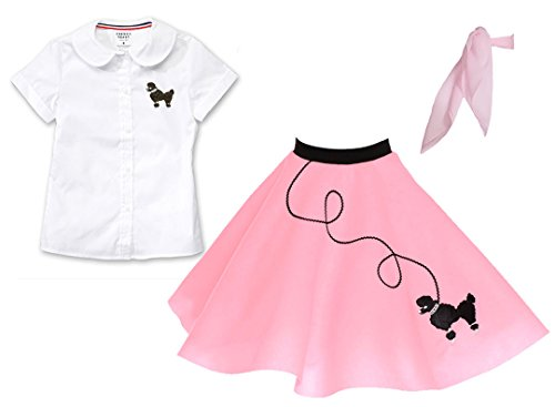 Hip Hop 50s Shop 3 Piece Child Poodle Skirt Outfit, Size 12 Light Pink