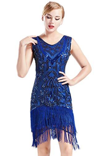 Collection 20s Roaring (BABEYOND 1920s Flapper Dress Long Fringed Gatsby Dress Roaring 20s Sequins Beaded Dress Vintage Art Deco Dress (Blue, L))
