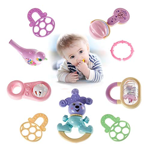 (9pcs Newborn Baby Rattles Toys,Spin and Grab Rattle,Shaker,Early Educational Toys Musical Toy Set for Infant,Newborn 3,6,9,12 Month Baby)