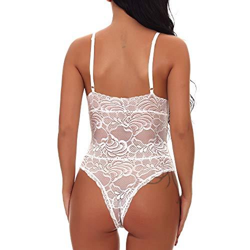 Lingerie Nuisette ◕‿◕LianMengMVP Grande Dentelle Body Femme Tenue Sexy Ensemble Lingerie Taille Erotique Blanc fgntIgwx4