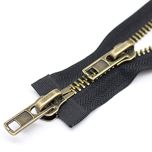 YaHoGa #8 24 Inch Two Way Separating Jacket Zipper Antique Brass Metal Zippers for Jackets Coats Sewing Crafts (24