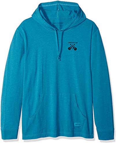(Life is Good Men's Hooded Crusher Life is Good Guitars, Heather Seaport Blue, X-Large)