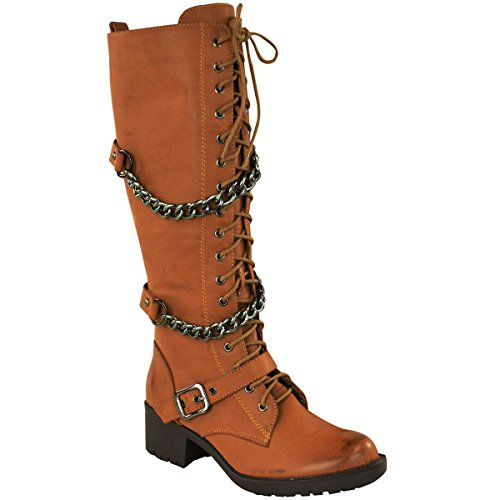 Fashion Thirsty Womens Knee High Mid Calf Lace Up Biker Punk Military Combat Boots Shoes Size 5