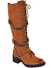 Fashion Thirsty Womens Knee High Mid Calf Lace Up Biker Punk Military Combat Boots Shoes